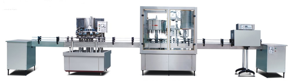 Cleaning, filling capping machine
